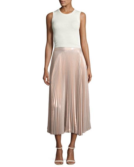 Bobby Metallic Pleated Midi Skirt, Pink