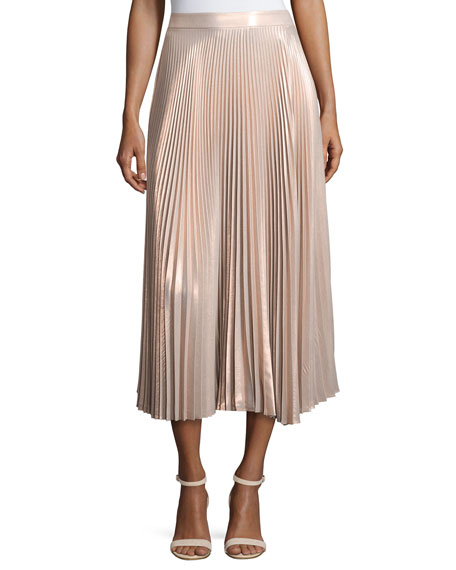Bobby Metallic Pleated Midi Skirt, Pink