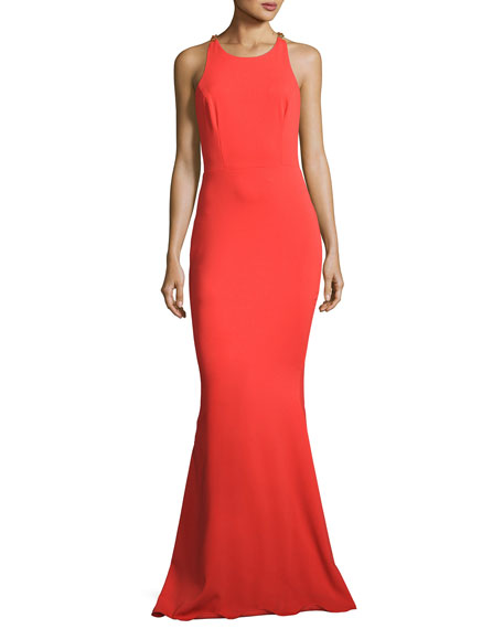 Sleeveless Stretch Crepe Beaded-Back Gown