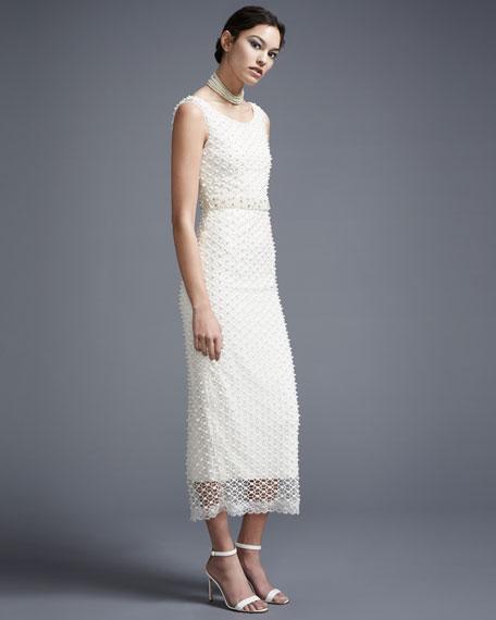 Sleeveless Netted Beaded Midi Gown, Ivory