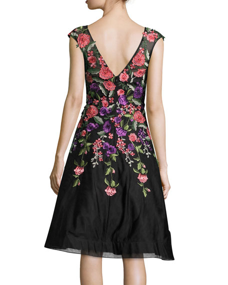 Jovani Sleeveless Embroidered Tulle Gown Black Multicolor