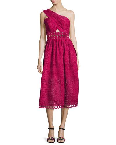 One-Shoulder Cutout Midi Dress, Raspberry Red