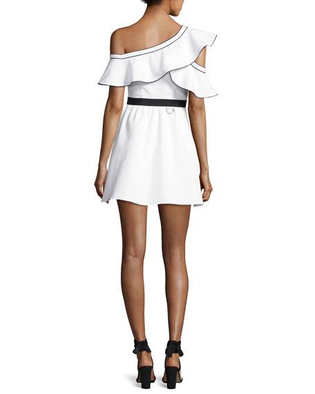 Poplin Frill Asymmetric Mini Dress, White