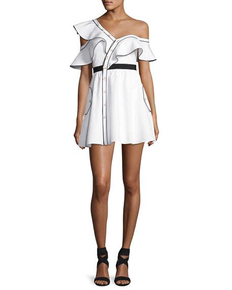 Self-Portrait Poplin Frill Asymmetric Mini Dress, White