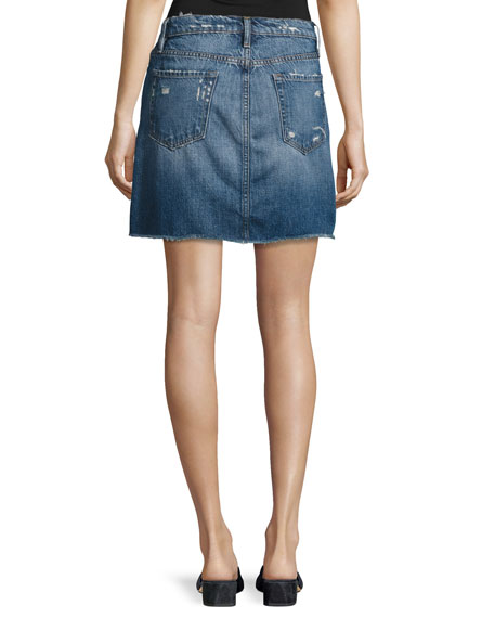 Le Mini Raw-Edge Denim Skirt, Blue
