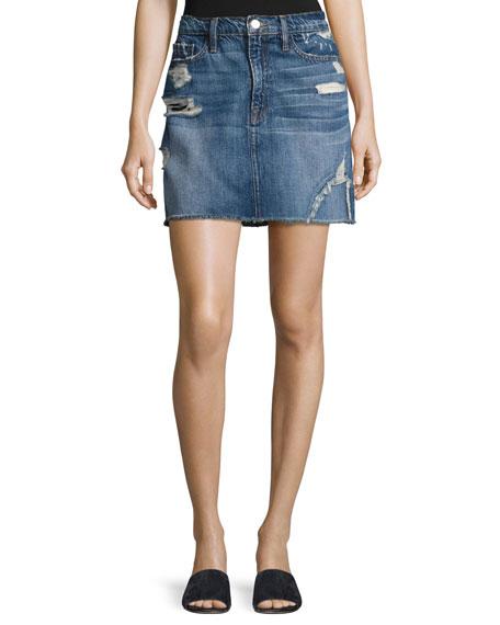 FRAME Le Mini Raw-Edge Denim Skirt, Blue