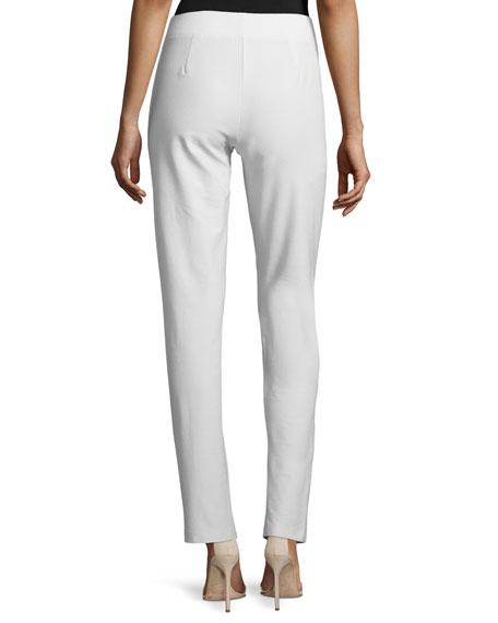 Washable Stretch Crepe Slim-Leg Pants, Bone