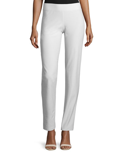 Washable Stretch Crepe Slim-Leg Pants, Bone