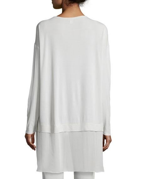 Long-Sleeve Layered Silk Tunic, Petite