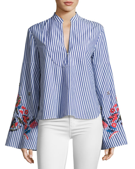 Tanya Taylor Designs Klara Embroidered Menswear Stripe Top,