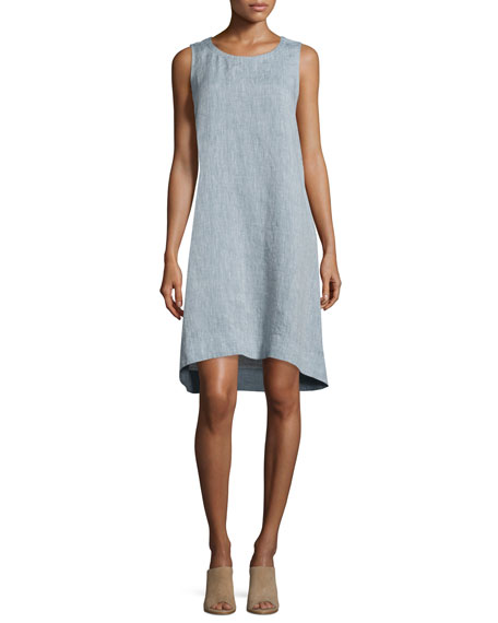 Eileen Fisher Sleeveless Chambray Linen Dress, Plus Size