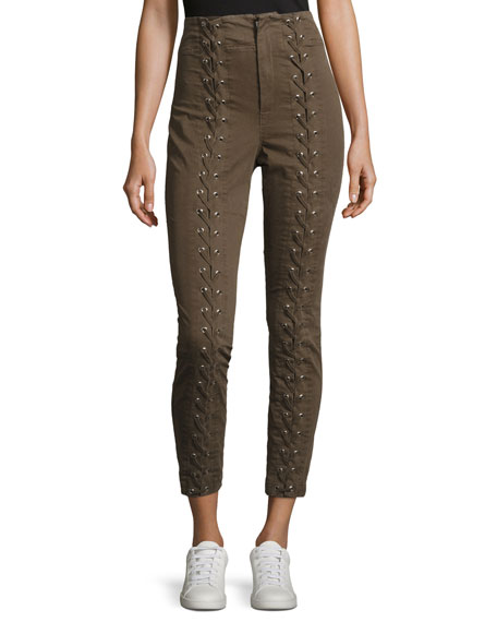 Kingsley Lace-Up High-Waist Pants