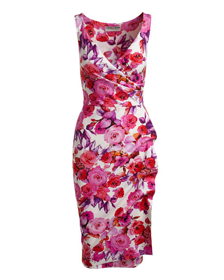 Timotea Sleeveless Ruched Floral Jersey Cocktail Dress, Pierre de Ronsard