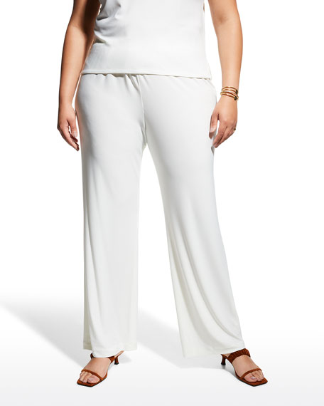 Stretch-Knit Straight-Leg Pants, Plus Size
