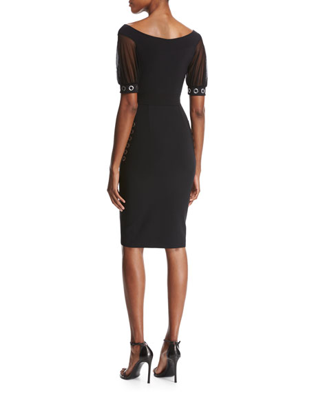 Chiara Boni La Petite Robe Galena Short-Sleeve Grommet Jersey Cocktail Dress, Black