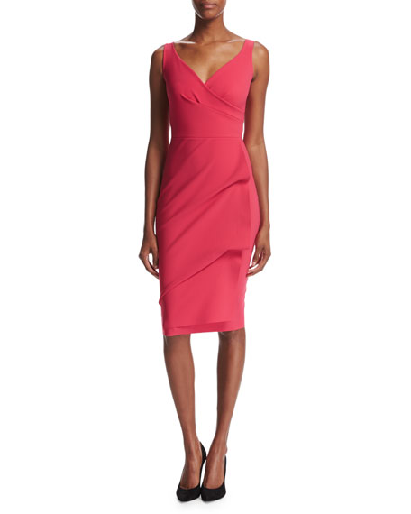 Timotea Sleeveless Draped Cocktail Dress, Red