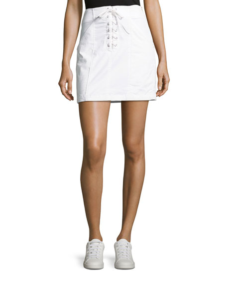 A.L.C. Kylie Laced-Front Cotton Mini Skirt