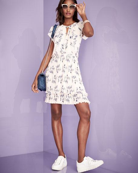 Ebony Floral Chiffon Blouson Dress, Pink