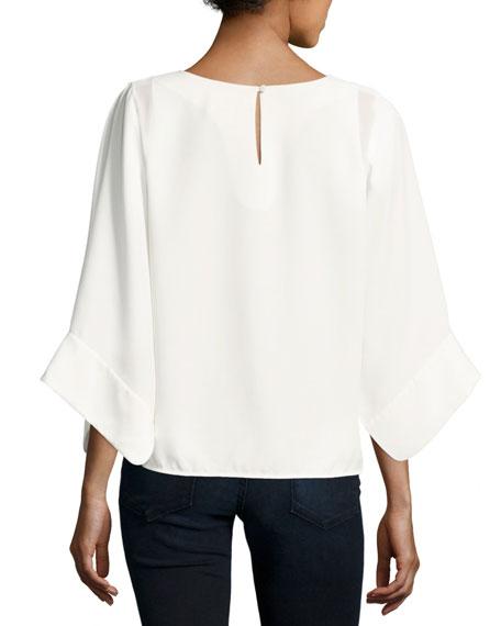High-Neck Kimono-Sleeve Top