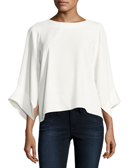 Halston Heritage High-Neck Kimono-Sleeve Top