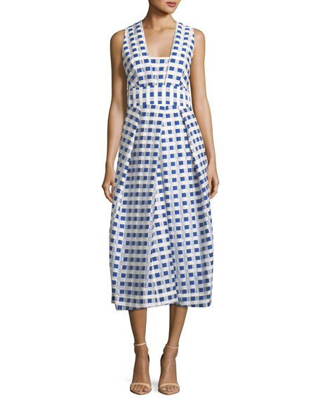 Milly Elisa Sleeveless Gingham Fil Coupe Midi Dress,