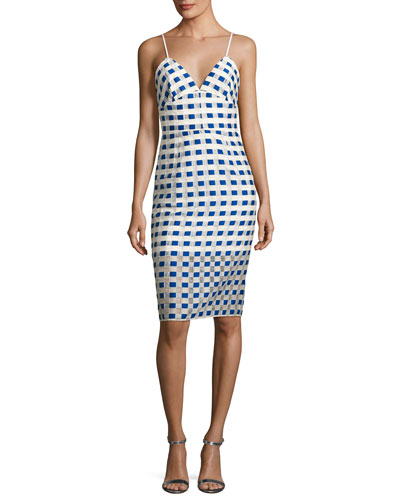 Scarlett Sleeveless Gingham Fil Coupe Cocktail Dress, Cobalt