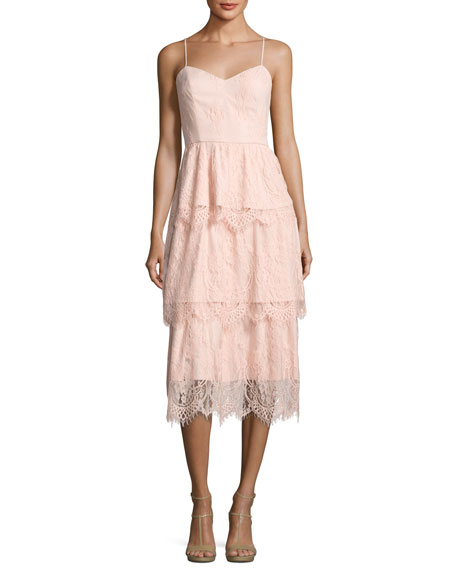 Keria Tiered Lace Cocktail Dress, Blush