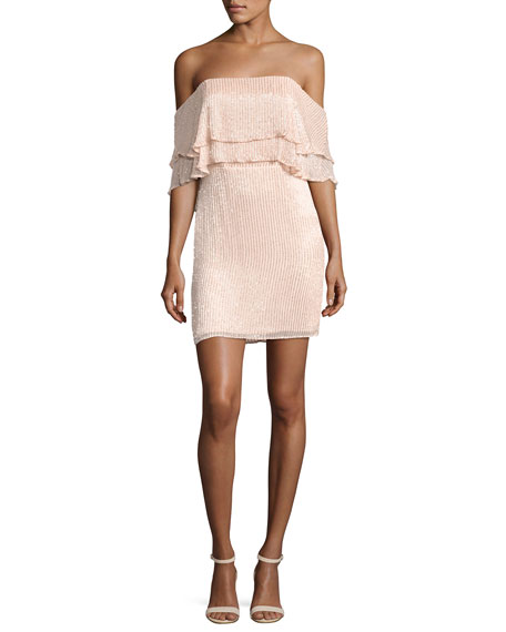 Parker Black Keria Tiered Lace Cocktail Dress, Blush