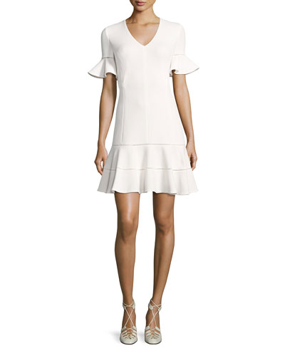 Short-Sleeve Textured V-Neck Dress