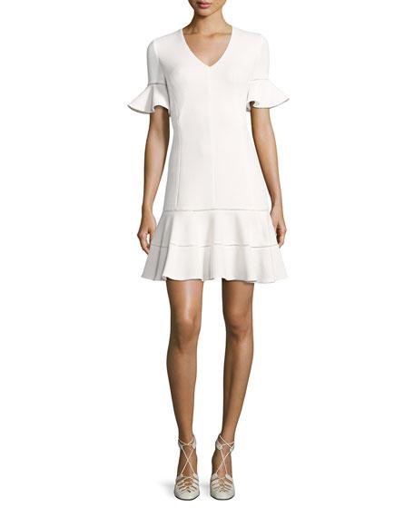 Short-Sleeve Textured V-Neck Dress