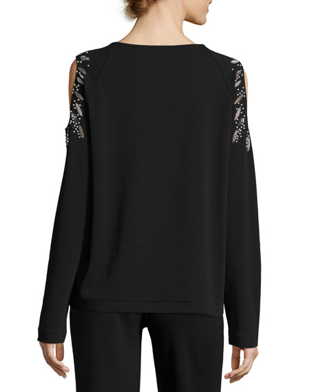 Beaded Open-Shoulder Long-Sleeve Top, Black