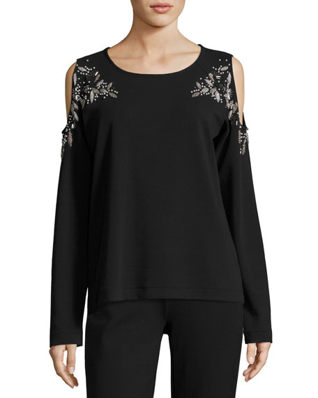 Joan Vass Beaded Open-Shoulder Long-Sleeve Top, Black