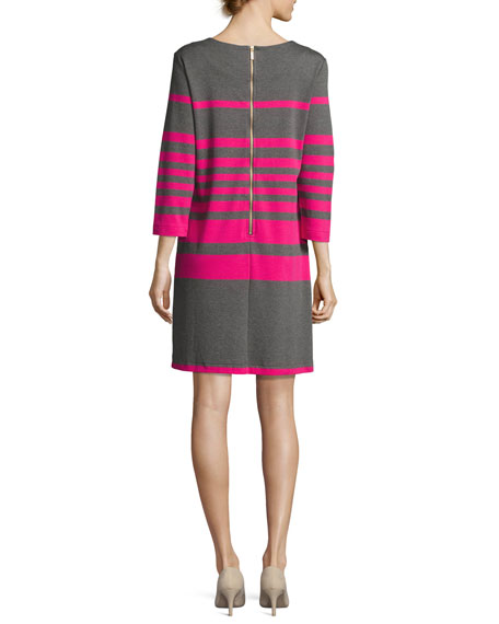Striped Cotton Two-Pocket Shift Dress, Gray/Pink