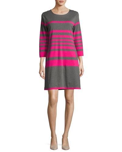 Striped Cotton Two-Pocket Shift Dress, Gray/Pink