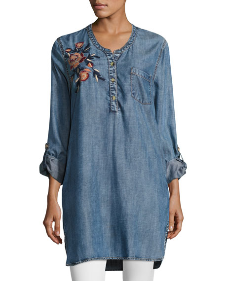 Tolani Joselyn Chambray Tunic, Plus Size