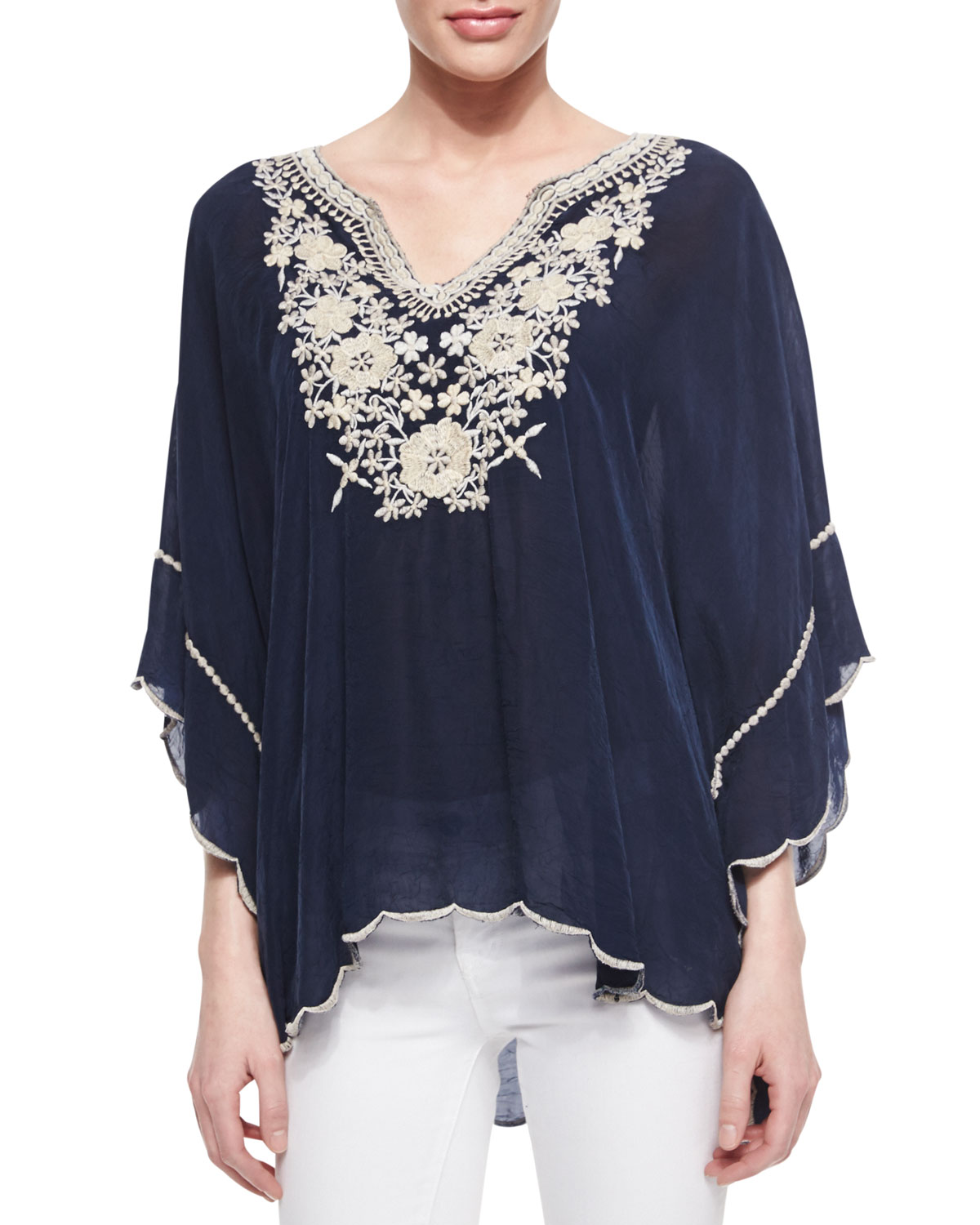 319db0031c Johnny Was Plus Size Embroidered Georgette Poncho Tunic