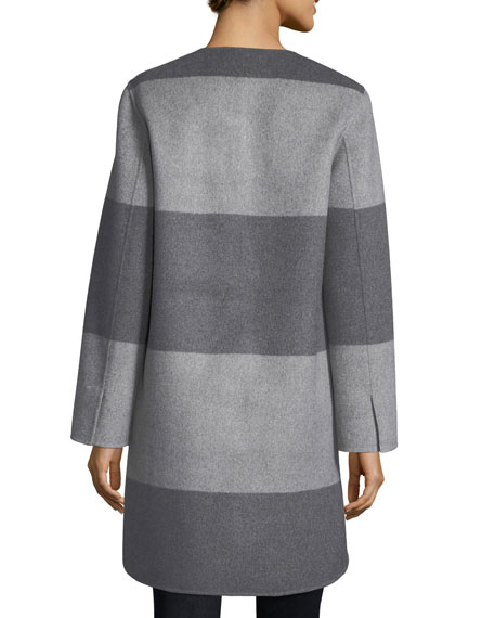 Luxury Striped Curved Double-Faced Cashmere Coat