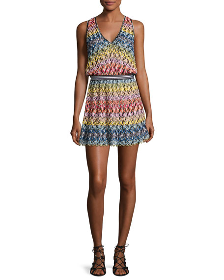 Missoni Mare Pizzo Onda Multicolor V-Neck Coverup Dress,