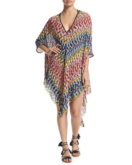 Missoni Mare Pizzo Onda Multicolor V-Neck Poncho, Multi