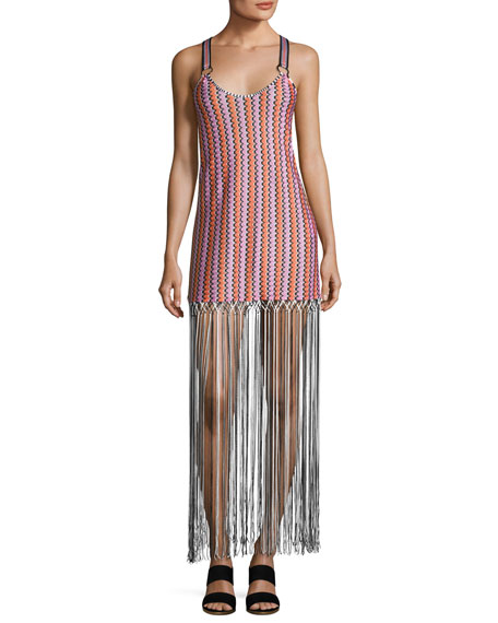 Missoni Mare Grechina Tricolor Sport-Strap Long Fringe Dress,