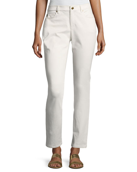 Eileen Fisher Sueded Organic Stretch-Sateen Skinny Jeans, White
