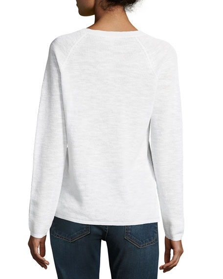 V-Neck Organic Linen/Cotton-Blend Slub Top, Petite