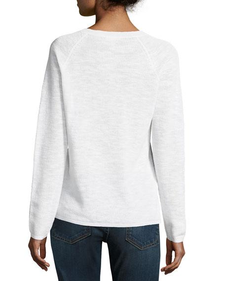V-Neck Organic Linen/Cotton-Blend Slub Top, Plus Size
