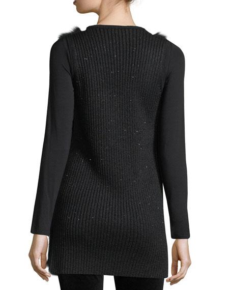 Luxury Cashmere Vest w/ Fox Fur Front & Sequin-Trim Back