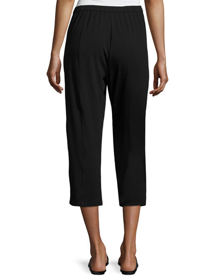 Organic Stretch Jersey Cropped Pants, Black