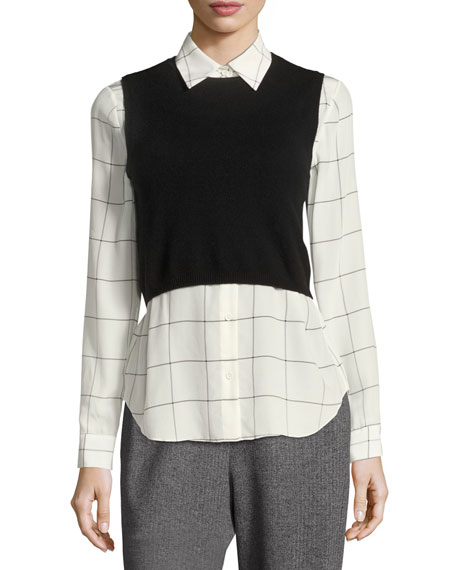 Alice   Olivia Lucinda Combo Cropped Sweater Vest w/ Shirt and ...