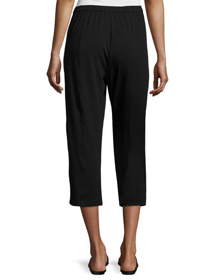 Organic Stretch Jersey Cropped Pants, Black, Petite