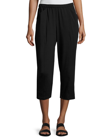 Eileen Fisher Organic Stretch Jersey Cropped Pants, Black,