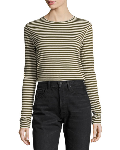 Midi Striped Long-Sleeve Tee, Natural Olive Wood