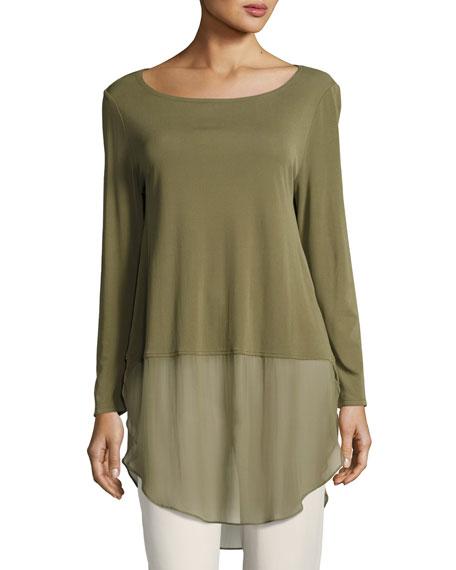 Long-Sleeve Silk Jersey Tunic w/ Sheer Layer, Plus Size